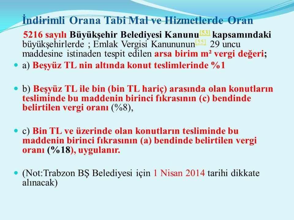 İndirimli Orana Tabi Mal ve Hizmetlerde Oran 5216 sayılı Büyükşehir Belediyesi Kanunu [53] kapsamındaki büyükşehirlerde ; Emlak Vergisi Kanununun [55]