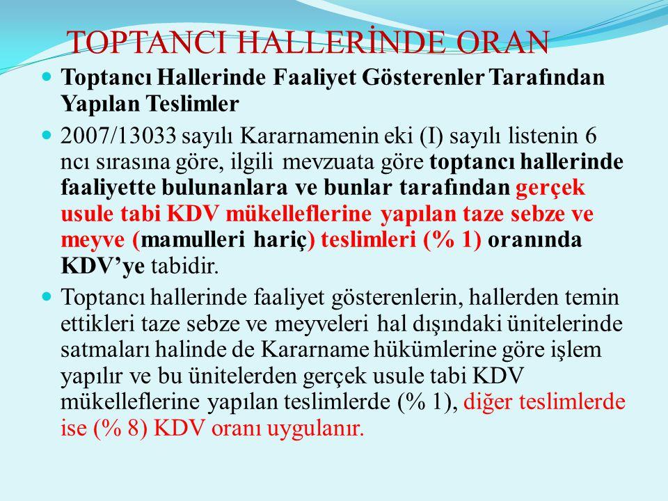 TOPTANCI HALLERİNDE ORAN  Toptancı Hallerinde Faaliyet Gösterenler Tarafından Yapılan Teslimler  2007/13033 sayılı Kararnamenin eki (I) sayılı liste