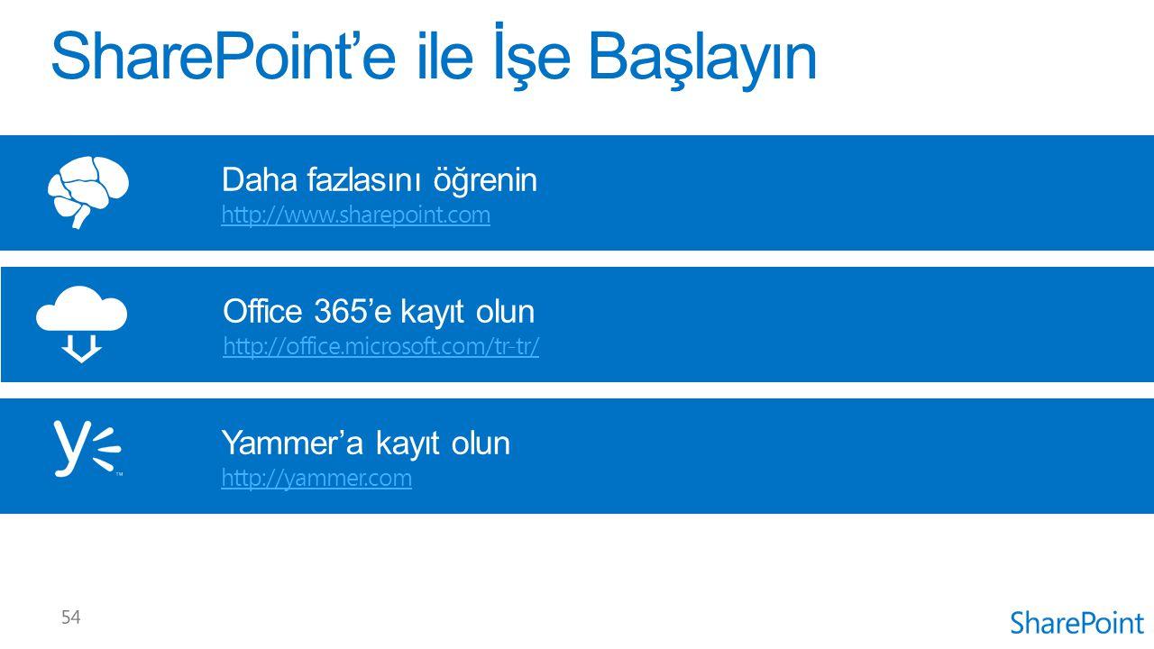 Office 365'e kayıt olun http://office.microsoft.com/tr-tr/ Daha fazlasını öğrenin http://www.sharepoint.com Yammer'a kayıt olun http://yammer.com