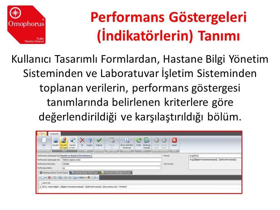 Performans Göstergeleri (İndikatörlerin) Tanımı Kullanıcı Tasarımlı Formlardan, Hastane Bilgi Yönetim Sisteminden ve Laboratuvar İşletim Sisteminden t
