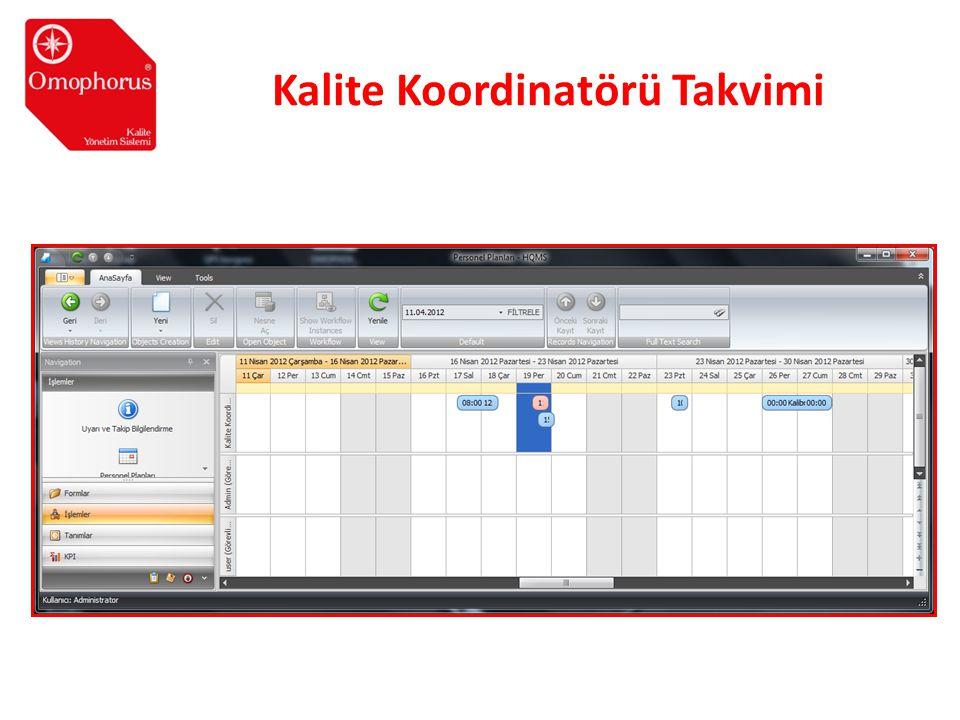 Kalite Koordinatörü Takvimi