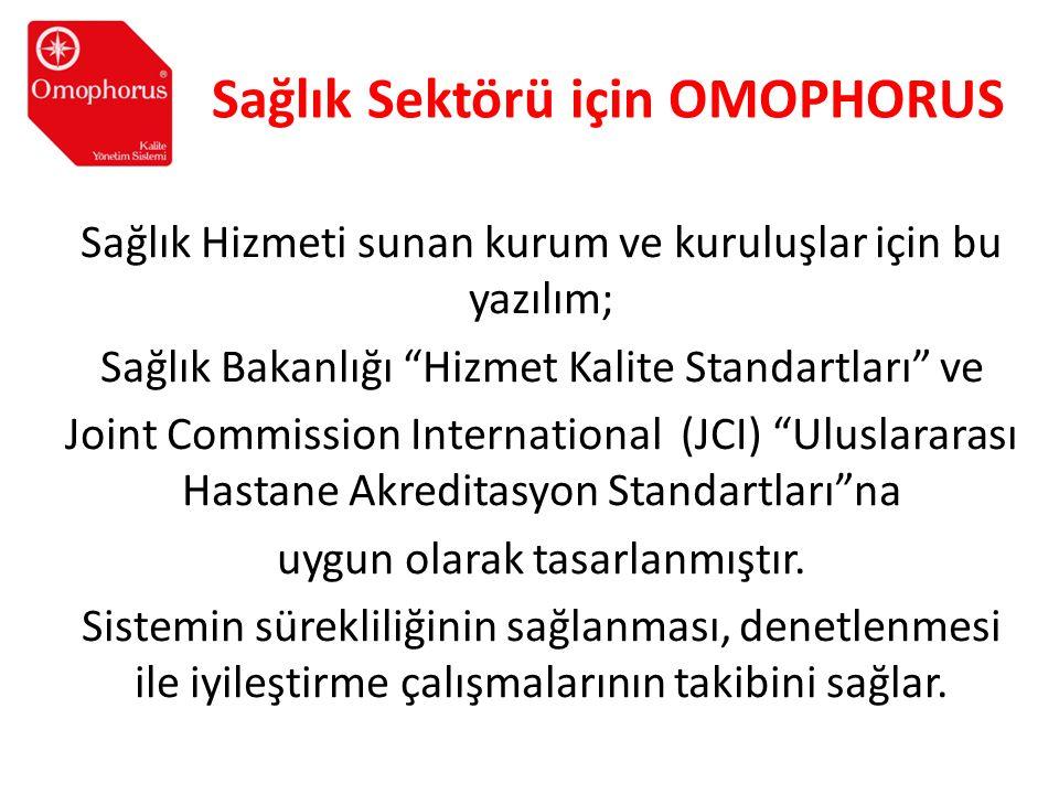 """Sağlık Sektörü için OMOPHORUS Sağlık Hizmeti sunan kurum ve kuruluşlar için bu yazılım; Sağlık Bakanlığı """"Hizmet Kalite Standartları"""" ve Joint Commiss"""