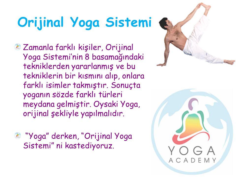 Orijinal Yoga Sistemi Zamanla farklı kişiler, Orijinal Yoga Sistemi'nin 8 basamağındaki tekniklerden yararlanmış ve bu tekniklerin bir kısmını alıp, o