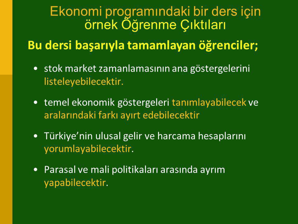 Ekonomi programındaki bir ders için örnek Öğrenme Çıktıları •stok market zamanlamasının ana göstergelerini listeleyebilecektir. •temel ekonomik göster