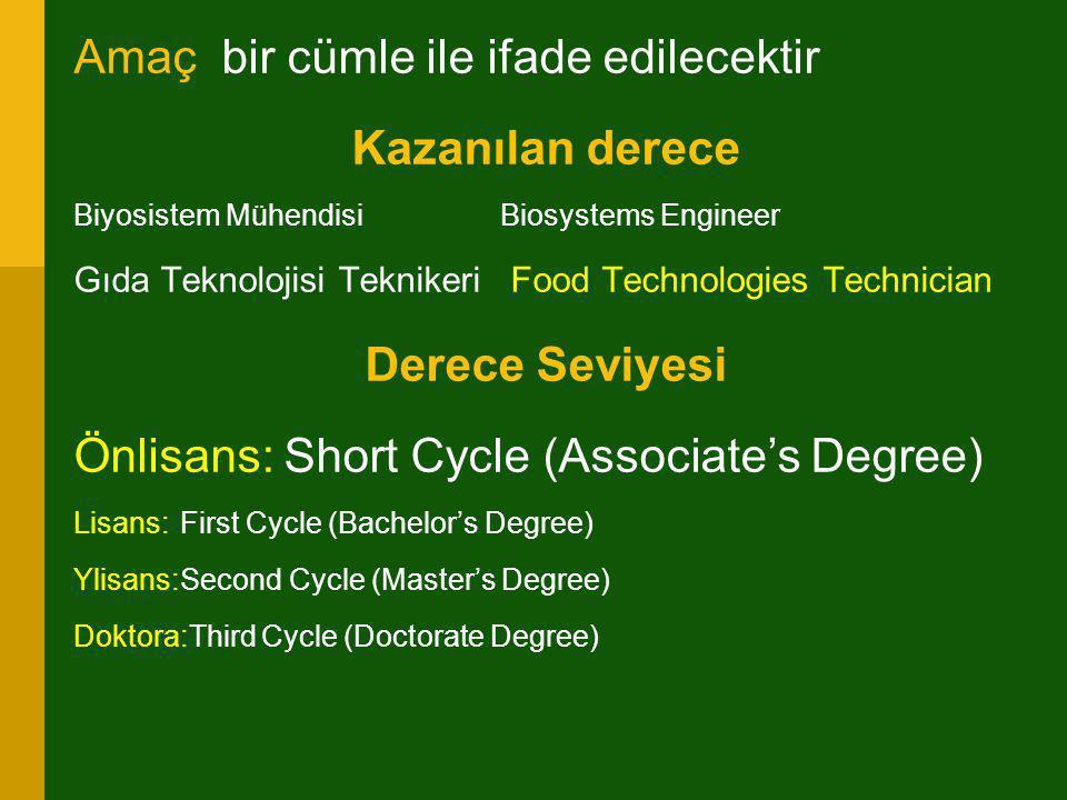 Amaç bir cümle ile ifade edilecektir Kazanılan derece Biyosistem MühendisiBiosystems Engineer Gıda Teknolojisi Teknikeri Food Technologies Technician