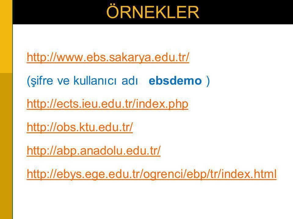 ÖRNEKLER •http://www.ebs.sakarya.edu.tr/http://www.ebs.sakarya.edu.tr/ •(şifre ve kullanıcı adı ebsdemo ) •http://ects.ieu.edu.tr/index.phphttp://ects