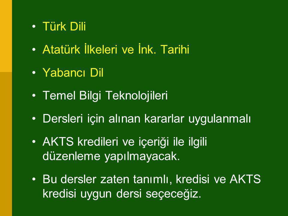 •Türk Dili •Atatürk İlkeleri ve İnk. Tarihi •Yabancı Dil •Temel Bilgi Teknolojileri •Dersleri için alınan kararlar uygulanmalı •AKTS kredileri ve içer