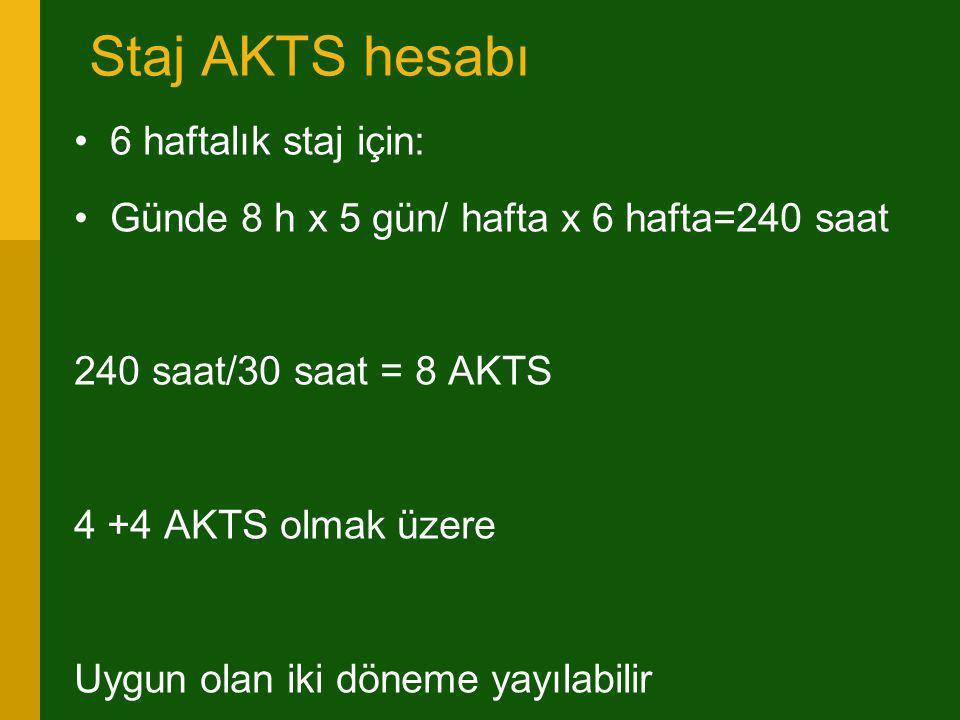 Staj AKTS hesabı •6 haftalık staj için: •Günde 8 h x 5 gün/ hafta x 6 hafta=240 saat 240 saat/30 saat = 8 AKTS 4 +4 AKTS olmak üzere Uygun olan iki dö