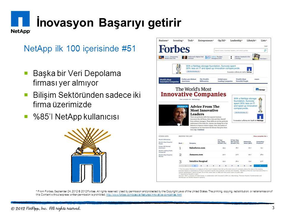İnovasyon Başarıyı getirir 3 NetApp ilk 100 içerisinde #51  Başka bir Veri Depolama firması yer almıyor  Bilişim Sektöründen sadece iki firma üzerim