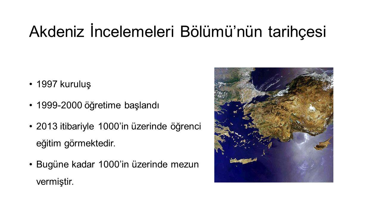 Akdeniz İncelemeleri Bölümü'nün tarihçesi •1997 kuruluş •1999-2000 öğretime başlandı •2013 itibariyle 1000'in üzerinde öğrenci eğitim görmektedir. •Bu