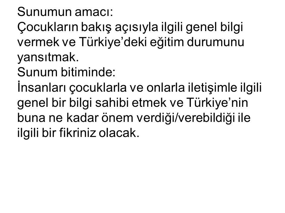Sunumun amacı: Çocukların bakış açısıyla ilgili genel bilgi vermek ve Türkiye'deki eğitim durumunu yansıtmak. Sunum bitiminde: İnsanları çocuklarla ve