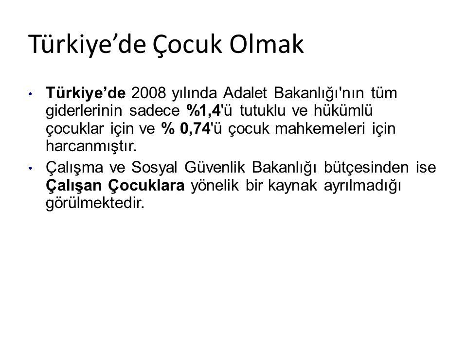 Türkiye'de Çocuk Olmak • Türkiye'de 2008 yılında Adalet Bakanlığı nın tüm giderlerinin sadece %1,4 ü tutuklu ve hükümlü çocuklar için ve % 0,74 ü çocuk mahkemeleri için harcanmıştır.