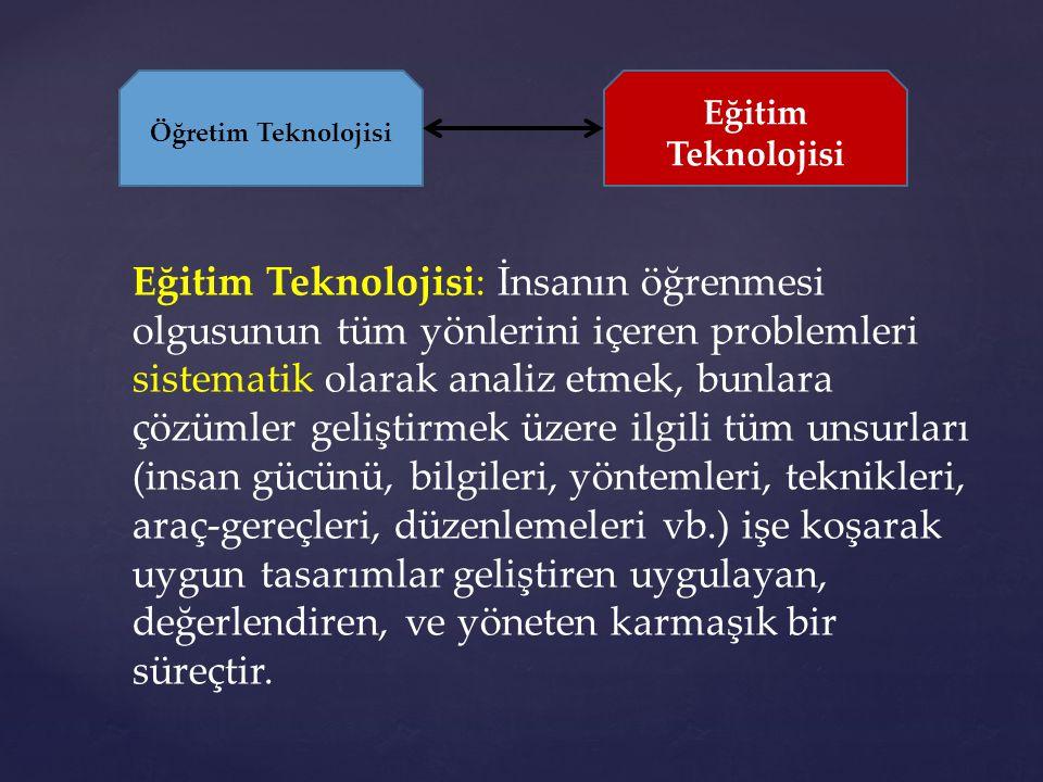 Eğitim Teknolojisi: İnsanın öğrenmesi olgusunun tüm yönlerini içeren problemleri sistematik olarak analiz etmek, bunlara çözümler geliştirmek üzere il