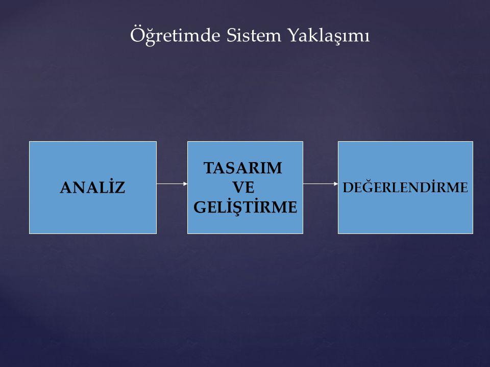 ANALİZ TASARIM VE GELİŞTİRME DEĞERLENDİRME Öğretimde Sistem Yaklaşımı