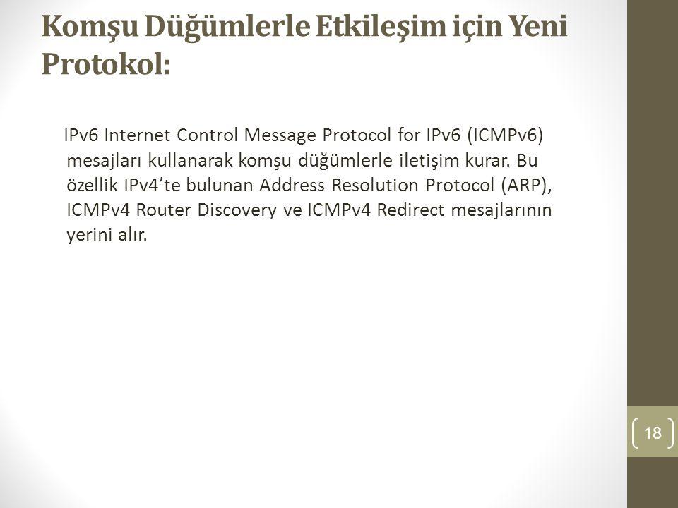 Komşu Düğümlerle Etkileşim için Yeni Protokol: IPv6 Internet Control Message Protocol for IPv6 (ICMPv6) mesajları kullanarak komşu düğümlerle iletişim