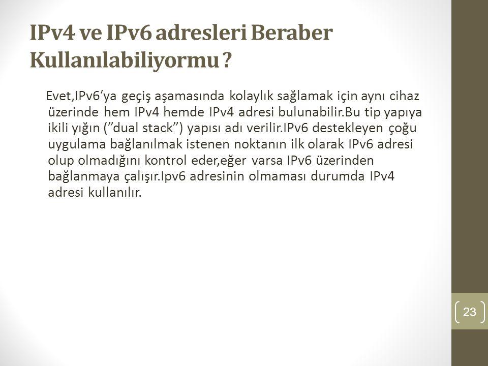IPv4 ve IPv6 adresleri Beraber Kullanılabiliyormu ? Evet,IPv6′ya geçiş aşamasında kolaylık sağlamak için aynı cihaz üzerinde hem IPv4 hemde IPv4 adres