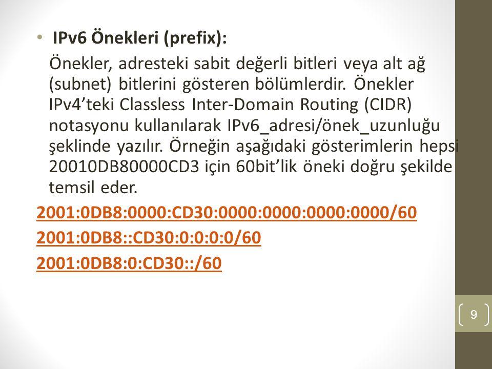 • IPv6 Önekleri (prefix): Önekler, adresteki sabit değerli bitleri veya alt ağ (subnet) bitlerini gösteren bölümlerdir. Önekler IPv4'teki Classless In