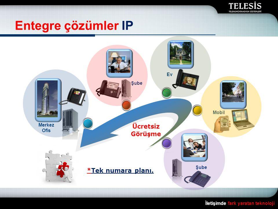 İletişimde fark yaratan teknoloji Entegre çözümler IP Ev Mobil Şube Merkez Ofis Ücretsiz Görüşme *Tek numara planı.