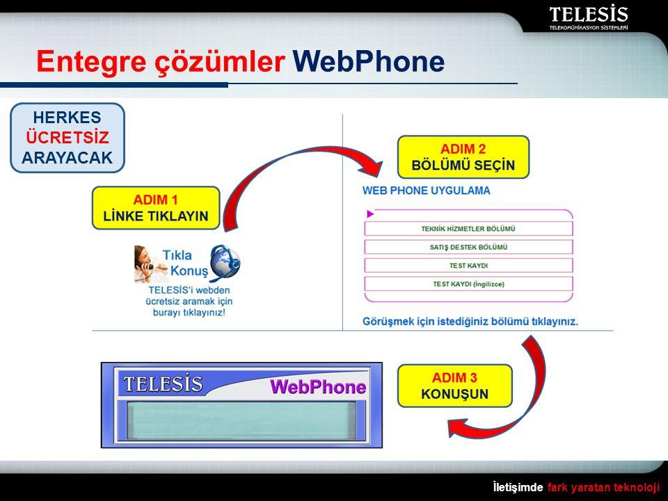 İletişimde fark yaratan teknoloji Entegre çözümler WebPhone HERKES ÜCRETSİZ ARAYACAK