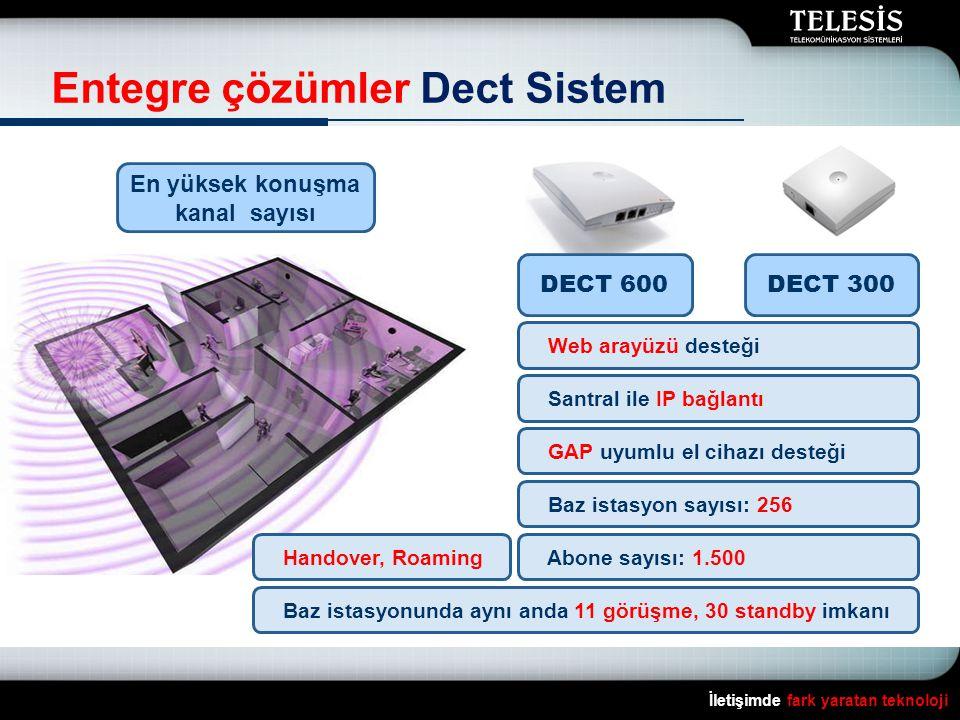 İletişimde fark yaratan teknoloji Entegre çözümler Dect Sistem En yüksek konuşma kanal sayısı DECT 600DECT 300 Web arayüzü desteği Santral ile IP bağl