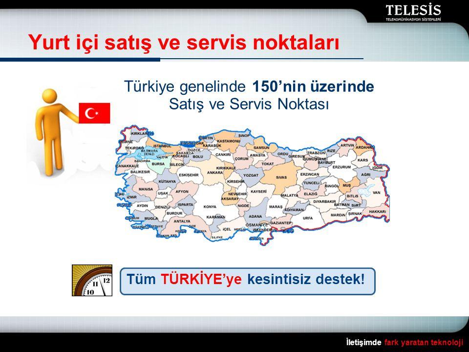 Yurt içi satış ve servis noktaları İletişimde fark yaratan teknoloji Türkiye genelinde 150'nin üzerinde Satış ve Servis Noktası Tüm TÜRKİYE'ye kesinti