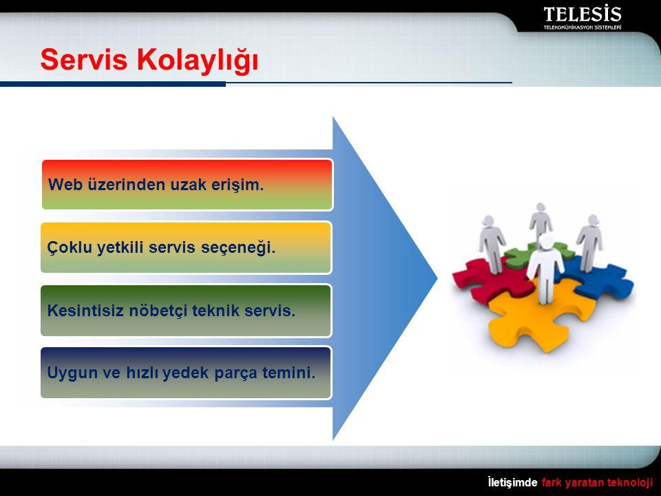Servis Kolaylığı İletişimde fark yaratan teknoloji Web üzerinden uzak erişim. Çoklu yetkili servis seçeneği. Kesintisiz nöbetçi teknik servis. Uygun v