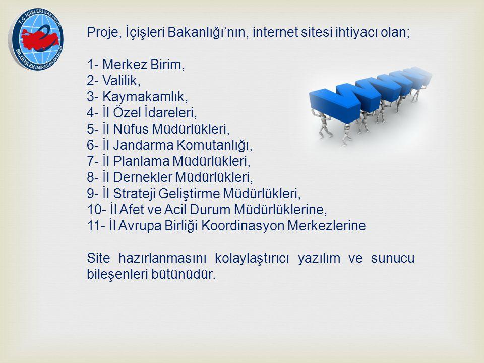 Proje, İçişleri Bakanlığı'nın, internet sitesi ihtiyacı olan; 1- Merkez Birim, 2- Valilik, 3- Kaymakamlık, 4- İl Özel İdareleri, 5- İl Nüfus Müdürlükl
