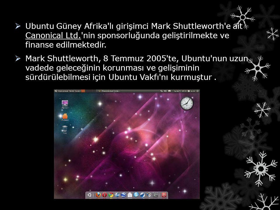  Ubuntu Güney Afrika'lı girişimci Mark Shuttleworth'e ait Canonical Ltd.'nin sponsorluğunda geliştirilmekte ve finanse edilmektedir.  Mark Shuttlewo
