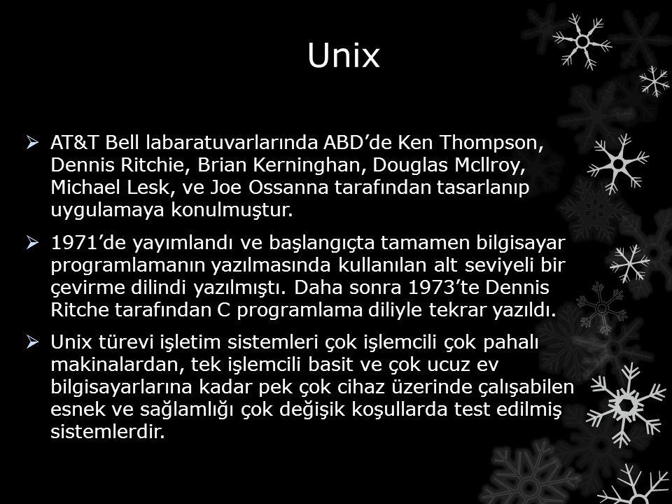 Unix  AT&T Bell labaratuvarlarında ABD'de Ken Thompson, Dennis Ritchie, Brian Kerninghan, Douglas Mcllroy, Michael Lesk, ve Joe Ossanna tarafından ta