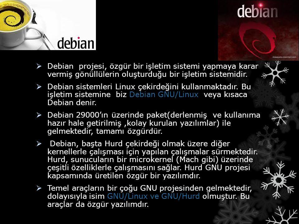  Debian projesi, özgür bir işletim sistemi yapmaya karar vermiş gönüllülerin oluşturduğu bir işletim sistemidir.  Debian sistemleri Linux çekirdeğin