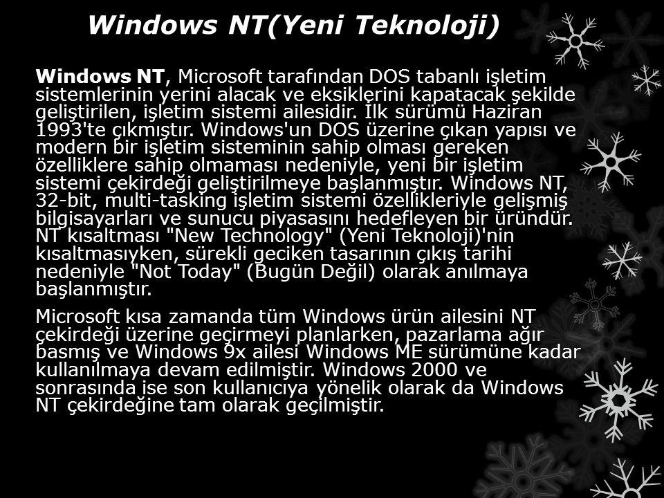 Windows NT(Yeni Teknoloji) Windows NT, Microsoft tarafından DOS tabanlı işletim sistemlerinin yerini alacak ve eksiklerini kapatacak şekilde geliştiri