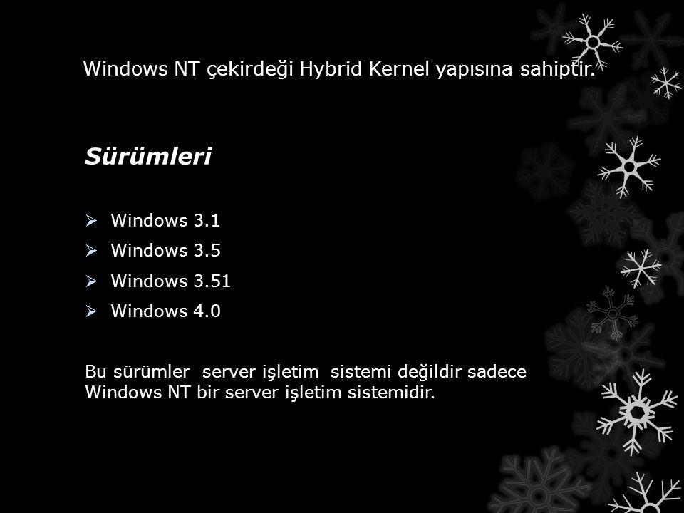 Windows NT çekirdeği Hybrid Kernel yapısına sahiptir. Sürümleri  Windows 3.1  Windows 3.5  Windows 3.51  Windows 4.0 Bu sürümler server işletim si