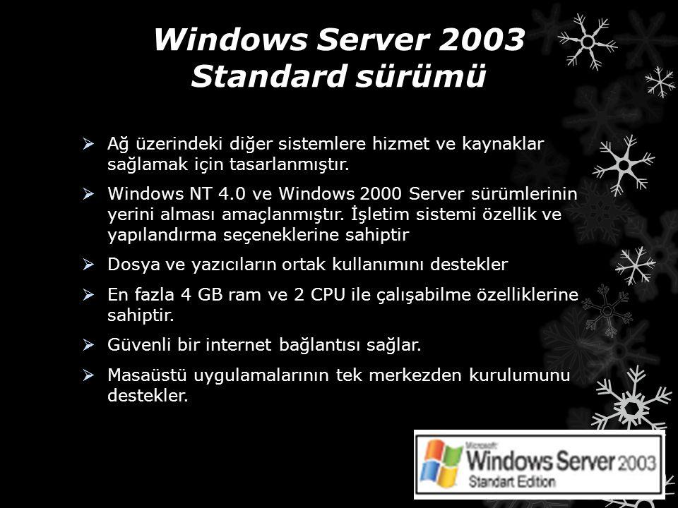 Windows Server 2003 Standard sürümü  Ağ üzerindeki diğer sistemlere hizmet ve kaynaklar sağlamak için tasarlanmıştır.  Windows NT 4.0 ve Windows 200