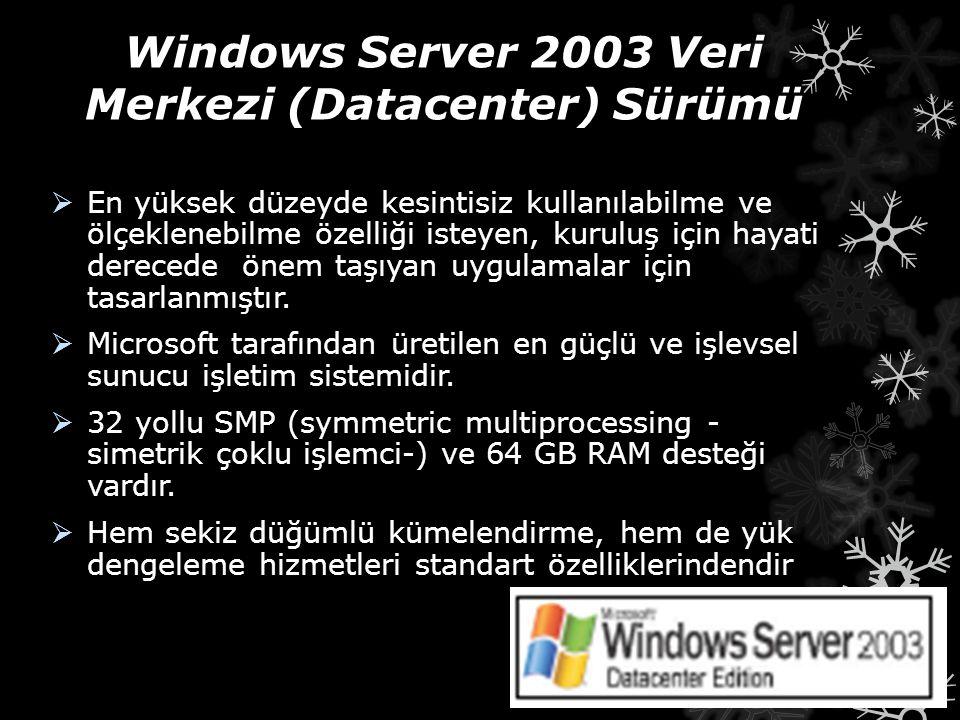 Windows Server 2003 Veri Merkezi (Datacenter) Sürümü  En yüksek düzeyde kesintisiz kullanılabilme ve ölçeklenebilme özelliği isteyen, kuruluş için ha