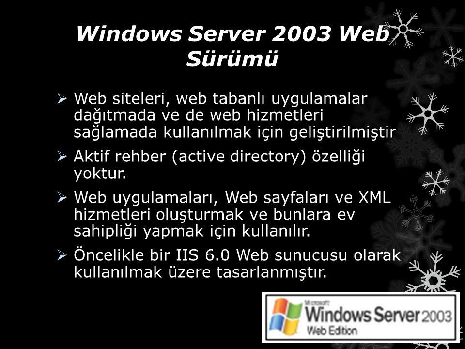 Windows Server 2003 Web Sürümü  Web siteleri, web tabanlı uygulamalar dağıtmada ve de web hizmetleri sağlamada kullanılmak için geliştirilmiştir  Ak