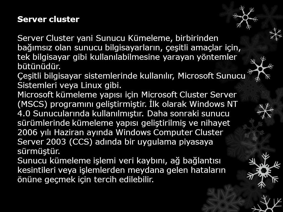 Server cluster Server Cluster yani Sunucu Kümeleme, birbirinden bağımsız olan sunucu bilgisayarların, çeşitli amaçlar için, tek bilgisayar gibi kullan