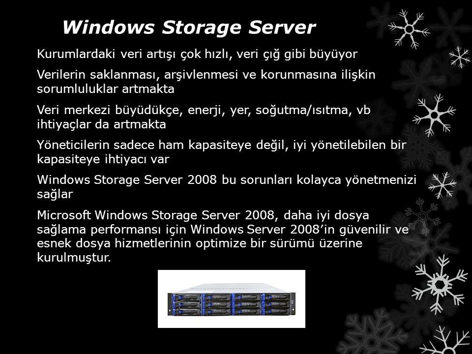 Windows Storage Server Kurumlardaki veri artışı çok hızlı, veri çığ gibi büyüyor Verilerin saklanması, arşivlenmesi ve korunmasına ilişkin sorumlulukl