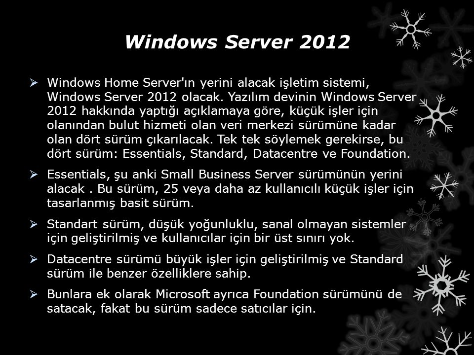 Windows Server 2012  Windows Home Server ın yerini alacak işletim sistemi, Windows Server 2012 olacak.