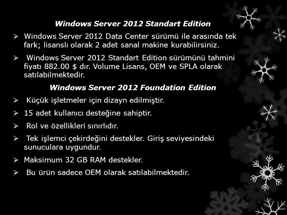 Windows Server 2012 Standart Edition  Windows Server 2012 Data Center sürümü ile arasında tek fark; lisanslı olarak 2 adet sanal makine kurabilirsini