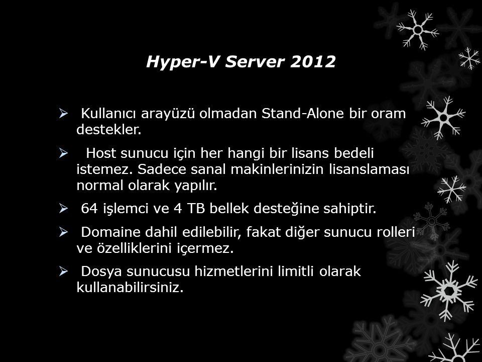 Hyper-V Server 2012  Kullanıcı arayüzü olmadan Stand-Alone bir oram destekler.  Host sunucu için her hangi bir lisans bedeli istemez. Sadece sanal m