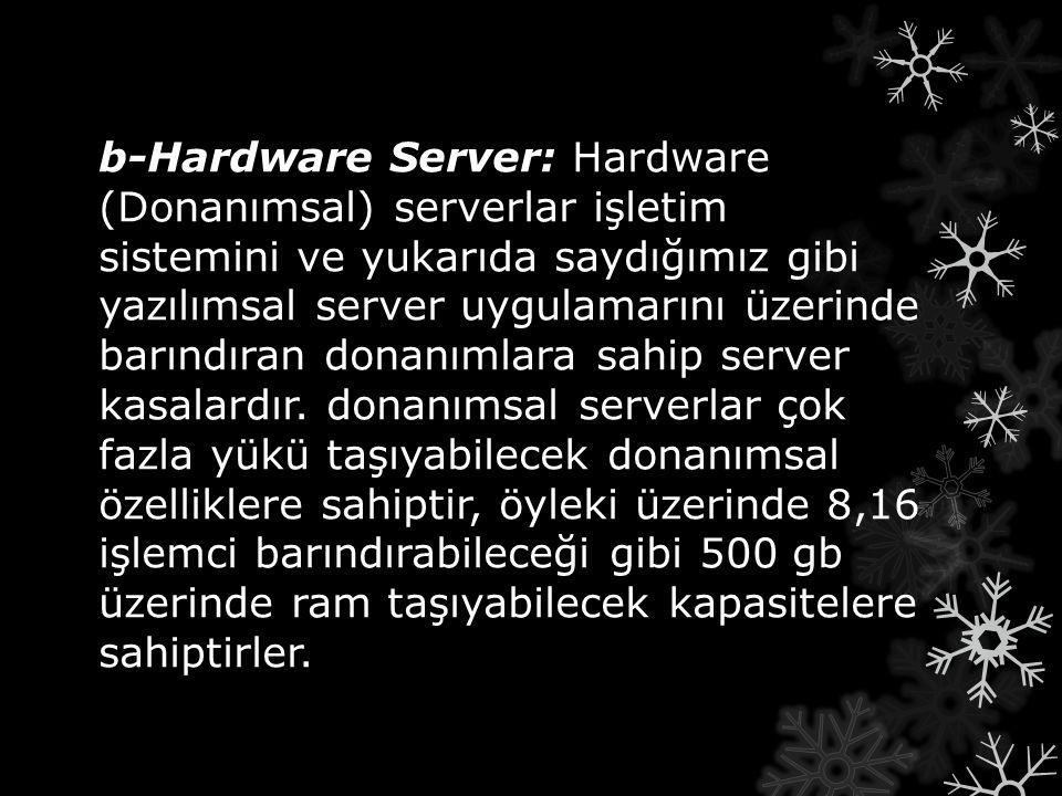 b-Hardware Server: b-Hardware Server: Hardware (Donanımsal) serverlar işletim sistemini ve yukarıda saydığımız gibi yazılımsal server uygulamarını üze