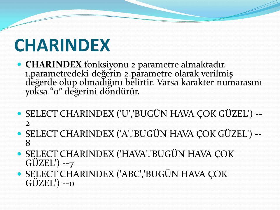 CHARINDEX  CHARINDEX fonksiyonu 2 parametre almaktadır. 1.parametredeki değerin 2.parametre olarak verilmiş değerde olup olmadığını belirtir. Varsa k