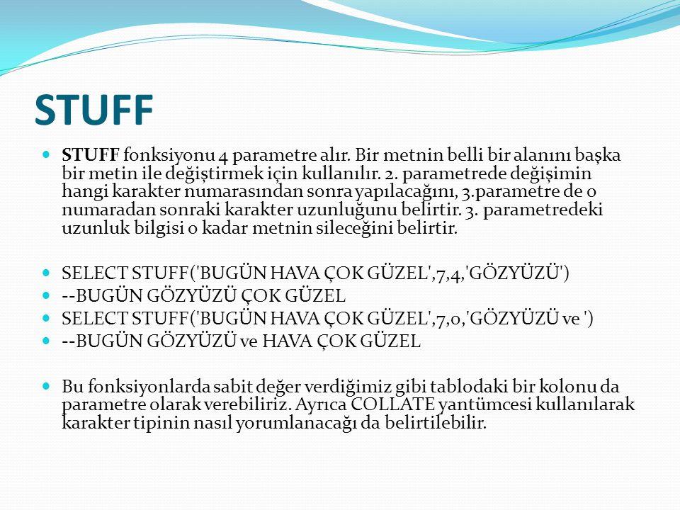 STUFF  STUFF fonksiyonu 4 parametre alır. Bir metnin belli bir alanını başka bir metin ile değiştirmek için kullanılır. 2. parametrede değişimin hang
