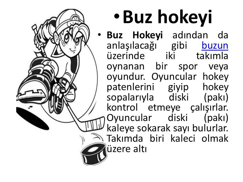 • Buz hokeyi • Buz Hokeyi adından da anlaşılacağı gibi buzun üzerinde iki takımla oynanan bir spor veya oyundur. Oyuncular hokey patenlerini giyip hok
