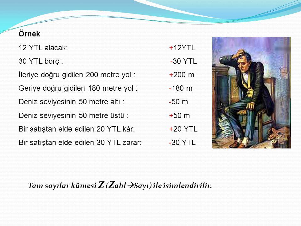 Örnek 12 YTL alacak: +12YTL 30 YTL borç : -30 YTL İleriye doğru gidilen 200 metre yol : +200 m Geriye doğru gidilen 180 metre yol :-180 m Deniz seviye