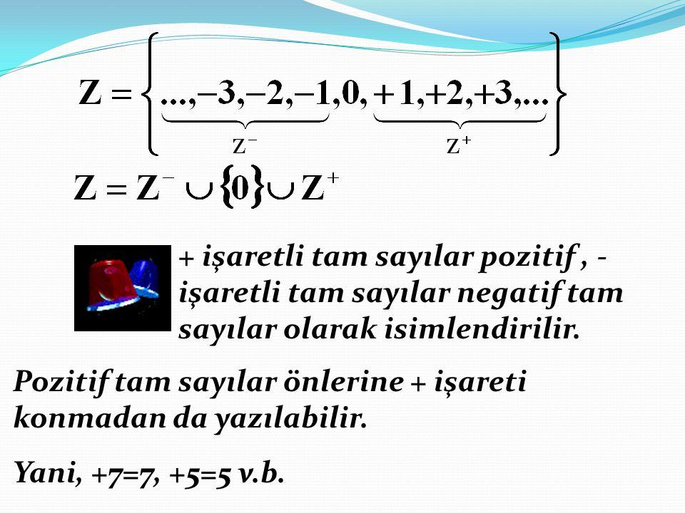 + işaretli tam sayılar pozitif, - işaretli tam sayılar negatif tam sayılar olarak isimlendirilir. Pozitif tam sayılar önlerine + işareti konmadan da y