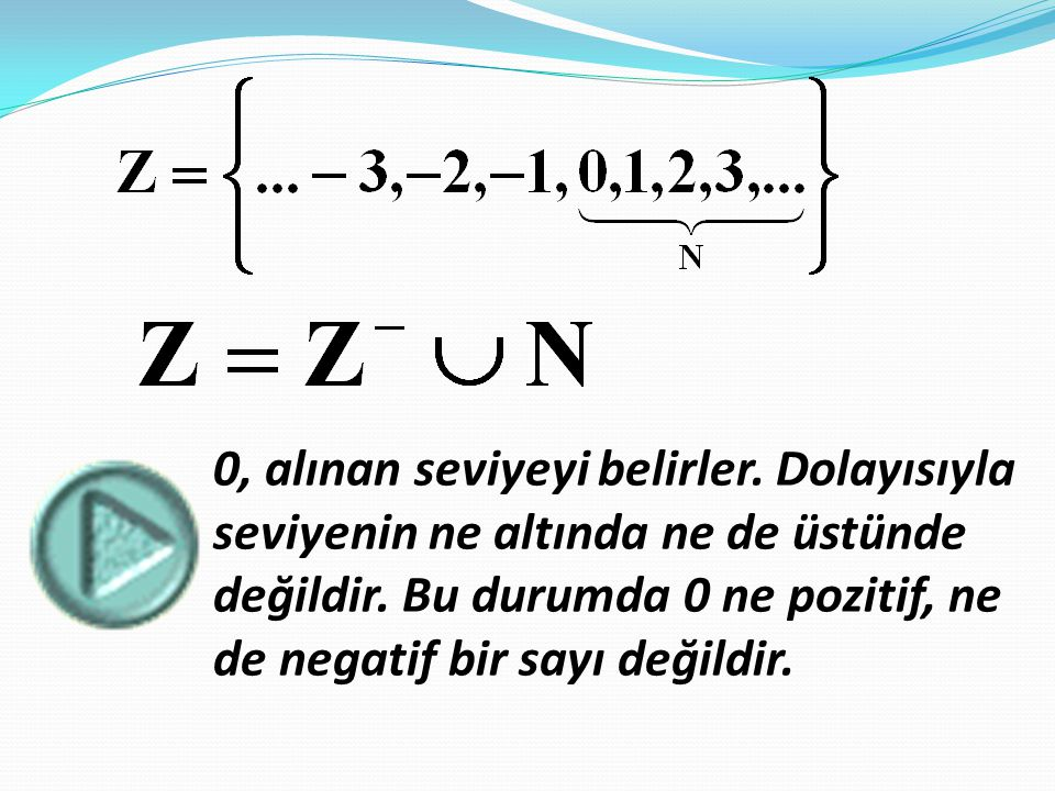 -1 +1 0 +3 +2 +5 +4 -6 -5 -4 -3 -2 +6 OF'E'D'C'B'A'ABCDEF Yukarıda görüldüğü gibi, her tam sayıya sayı doğrusu üzerinde bîr nokta karşılık gelmektedir.Bu noktaya o tam sayının görüntüsü denir.