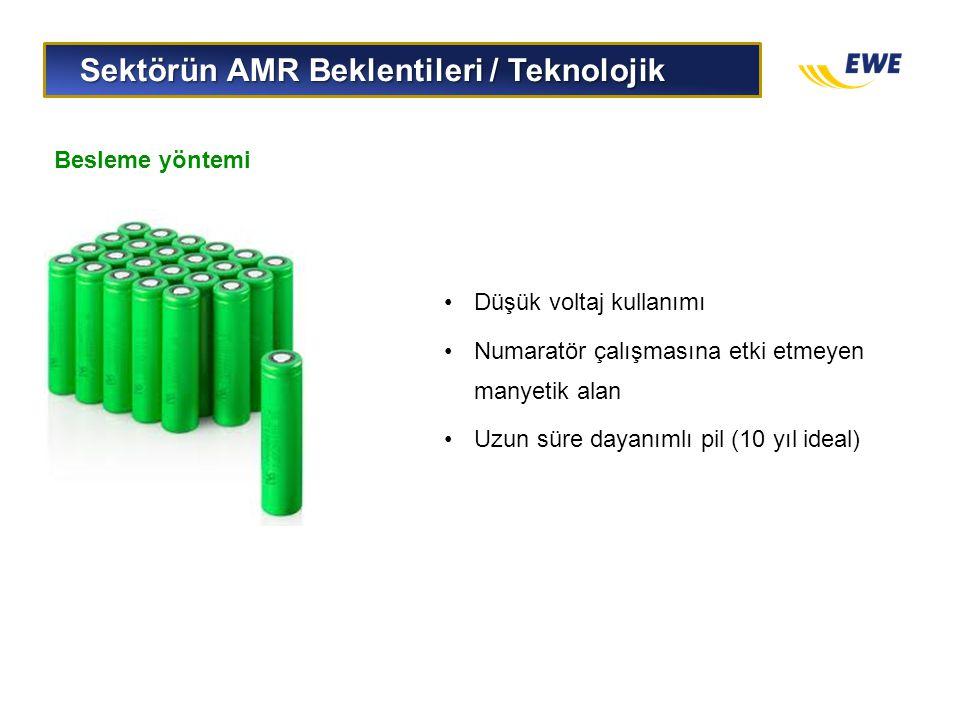 Sektörün AMR Beklentileri / Teknolojik Sektörün AMR Beklentileri / Teknolojik Besleme yöntemi •Düşük voltaj kullanımı •Numaratör çalışmasına etki etme