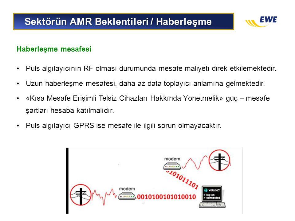 Sektörün AMR Beklentileri / Haberleşme Sektörün AMR Beklentileri / Haberleşme Haberleşme mesafesi •Puls algılayıcının RF olması durumunda mesafe maliy