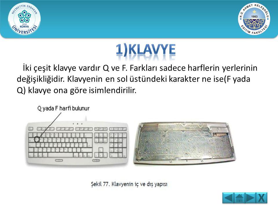 İki çeşit klavye vardır Q ve F.Farkları sadece harflerin yerlerinin değişikliğidir.